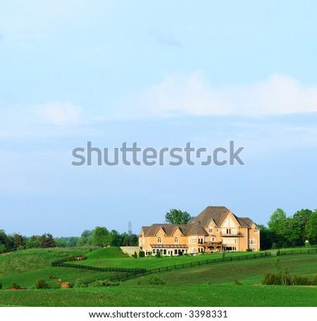 estate home in countryside, dream home - stock photo