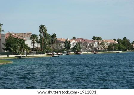 Estates by the lake - stock photo