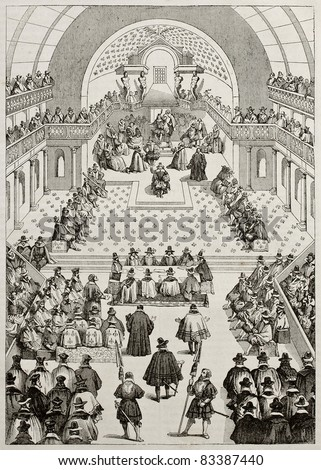 Estates General in Palais Bourbon old illustration, Paris. By unidentified author after print of 17th century of Hennin collection. Published on Magasin Pittoresque, Paris, 1840 - stock photo