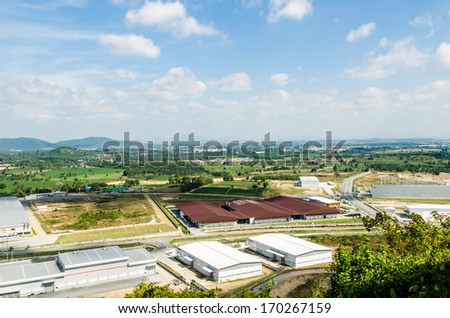 Estates Zone with Blue Sky field. - stock photo