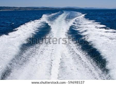 Estela at sea from a ship sailing - stock photo