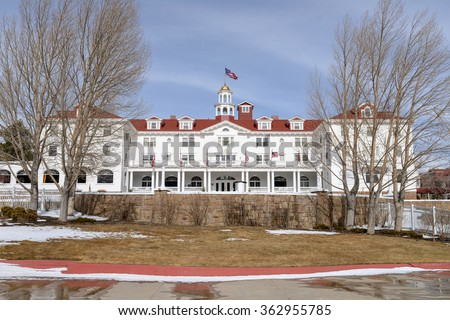 Estes Park, Colorado, USA - February 15, 2014: A close up front winter view of the famous Stanley Hotel at Estes Park, Colorado, USA. - stock photo