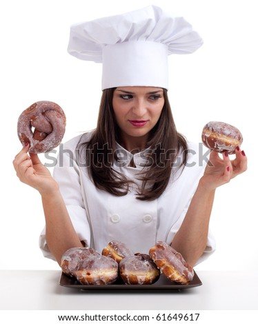 estimating cake female chef in white uniform and hat with  donuts
