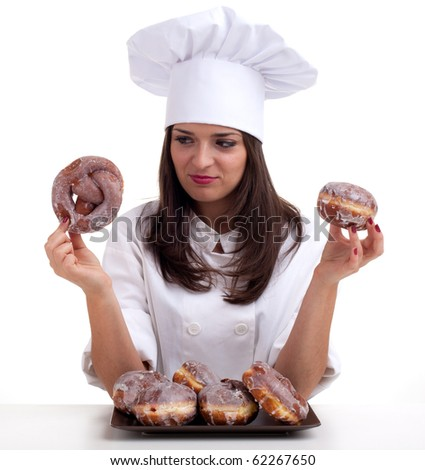 estimating cake female chef in white uniform and hat with doughnuts