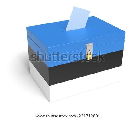 Estonia ballot box with Estonian Flag. Isolated on white background. - stock photo
