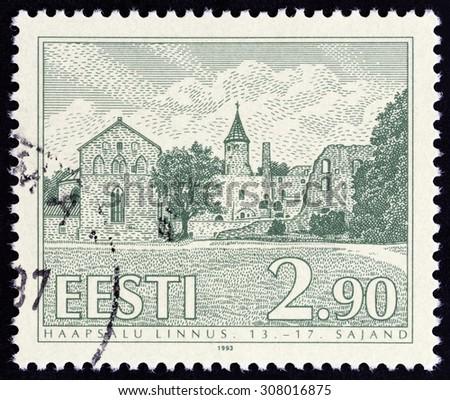 "ESTONIA - CIRCA 1993: A stamp printed in Estonia from the ""Castles "" issue shows Haapsalu Castle, circa 1993.  - stock photo"