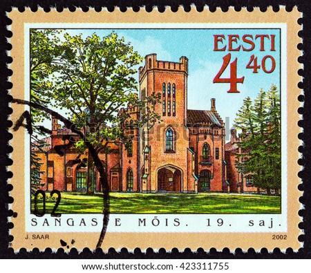 "ESTONIA - CIRCA 2002: A stamp printed in Estonia from the ""Manor Halls "" issue shows Sangaste Hall, circa 2002.  - stock photo"