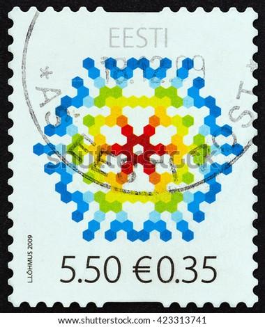 ESTONIA - CIRCA 2009: A stamp printed in Estonia issued for Christmas, circa 2009.  - stock photo