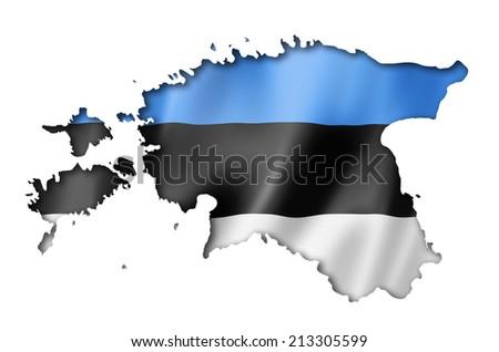 Estonia flag map, three dimensional render, isolated on white - stock photo