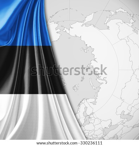 Estonia flag of silk with copyspace for your text or images and world map background
