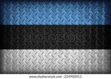 Estonia flag pattern on the diamond metal plate texture ,vintage style - stock photo