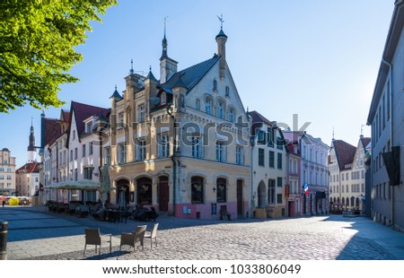 ESTONIA - JULY 22, 2017: Early morning and Houses 6 and 8 on the street Kuninga in Tallinn, circa 2017