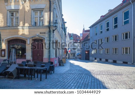 ESTONIA - JULY 22, 2017: Early morning on the street Kuninga in Tallinn, circa 2017