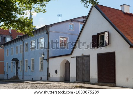 ESTONIA - JULY 22, 2017: Old Houses on Kiriku Plats in Old Tallinn, circa 2017