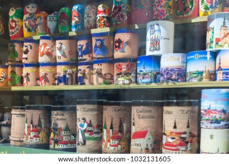 ESTONIA - JULY 22, 2017: Souvenir mugs in the shop window in Tallinn, circa 2017
