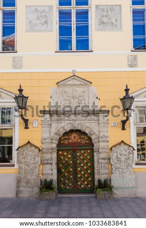 ESTONIA - JULY 22, 2017: The painted doors date from the 1640. House of the Blackheads on Pikk street in Tallinn, circa 2017