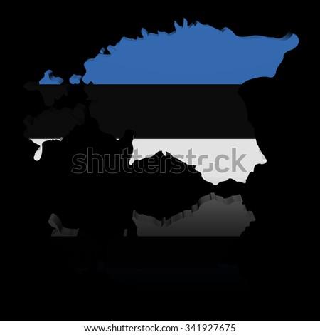 Estonia map flag with reflection illustration - stock photo
