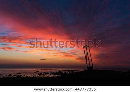 Estonia Memorial with sunset sky, Tahkuna, Island of Hiiumaa, Estonia - stock photo