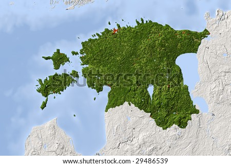 Estonia. Shaded relief map. Surrounding territory greyed out. Colored according to vegetation. Includes clip path for the state area.