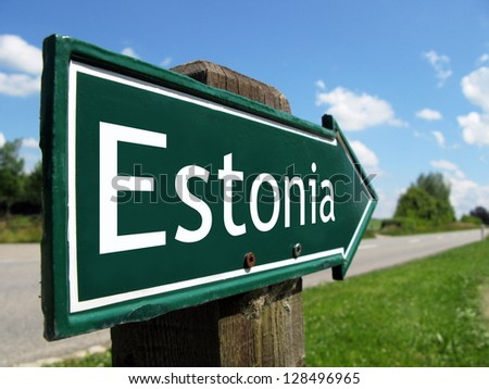 Estonia signpost along a rural road