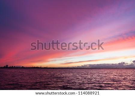 Estonia, Tallinn with fire sea sunset - stock photo