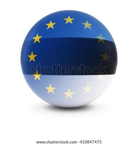 Estonian and European Flag Ball - Fading Flags of Estonia and the EU - stock photo