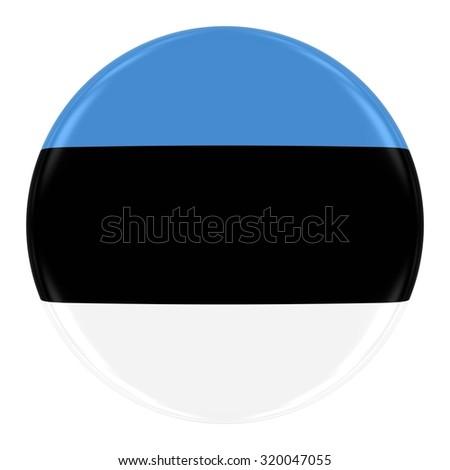 Estonian Flag Badge - Flag of Estonia Button Isolated on White - stock photo