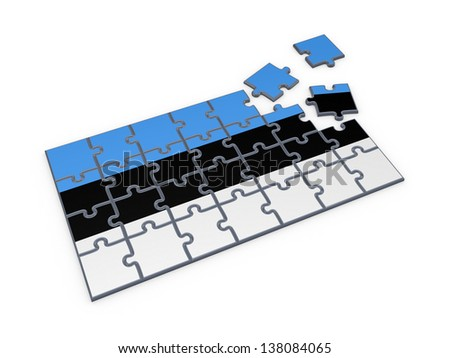 Estonian flag made of puzzles.Isolated on white.3d rendered. - stock photo