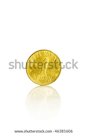 Estonian 1 kroon with reflection - stock photo