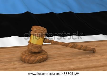 Estonian Law Concept - Flag of Estonia Behind Judge's Gavel 3D Illustration - stock photo