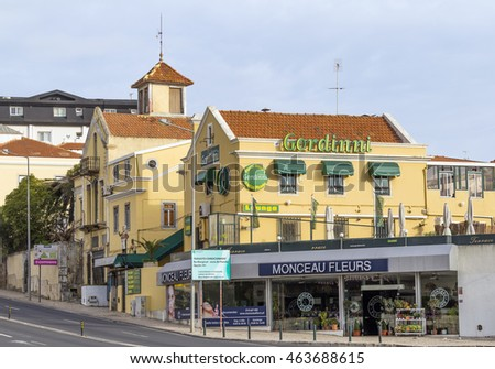 ESTORIL, LISBON, PORTUGAL - OCTOBER 30, 2015: Street view of downtown.  Estoril is a town and a former civil parish in the municipality of Cascais, Portugal, on the Portuguese Riviera