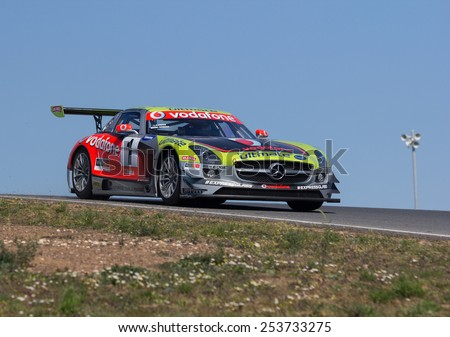 Estoril, Portugal - February 2012: Jose Pedro Fontes & Miguel Barbosa with Mercedes AMG of Vodafone BP Ultimate Team Training for the Iber GT championship on February 19 , 2012, in Estoril, Portugal. - stock photo