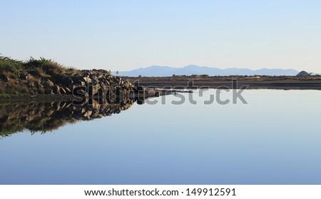 Estuary Flats at Dusk - Kapiti Coast, New Zealand. - stock photo