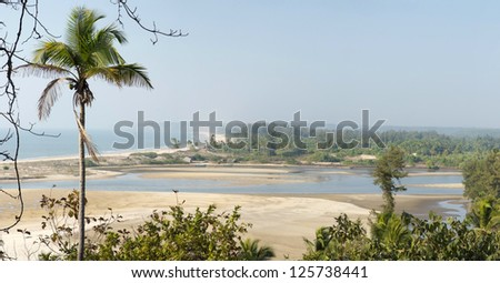 estuary in Goa state, India - stock photo