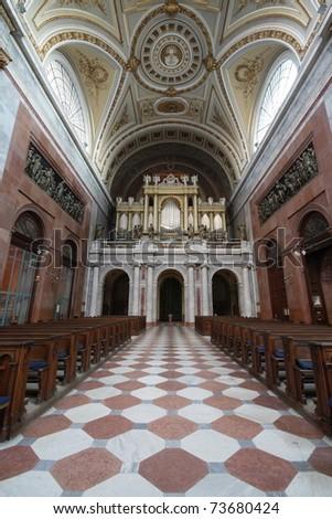 Esztergom Basilica inside - view towards the organ - stock photo