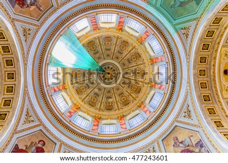 ESZTERGOM, HUNGARY - AUGUST 31, 2016: Interior of the Esztergom Basilica. The Esztergom Basilica is the mother church of the Archdiocese of Esztergom-Budapest and is the biggest building in country.