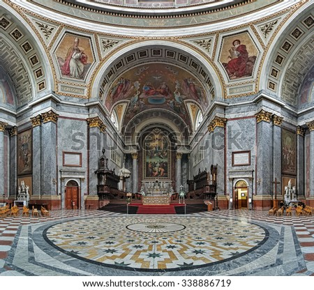 ESZTERGOM, HUNGARY - OCTOBER 7, 2015: Sanctuary and altar of Esztergom Basilica. Esztergom Basilica is the mother church of the Archdiocese of Esztergom-Budapest and is the biggest building in country - stock photo