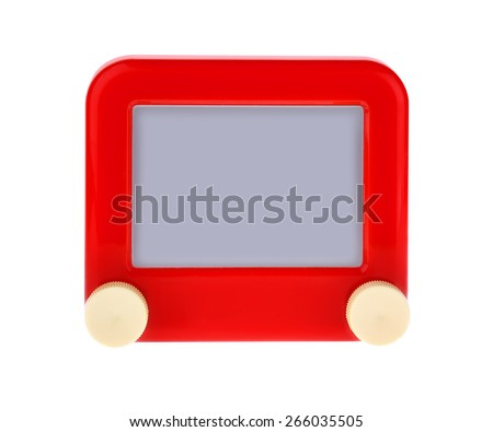 Etch A Message on a Red Sketch Board Isolated on White. - stock photo