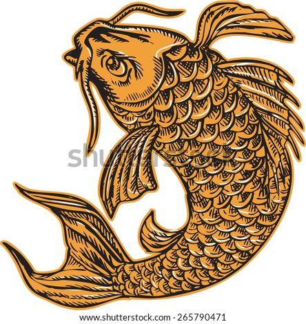 Etching engraving handmade style illustration of a koi carp nishikigoi fish jumping viewed from side set on isolated background.  - stock photo
