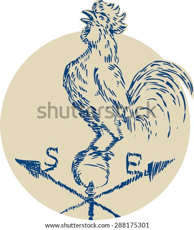 Etching engraving handmade style illustration of a rooster cockerel crowing standing on top of weather vane viewed from the side set inside circle on isolated background.