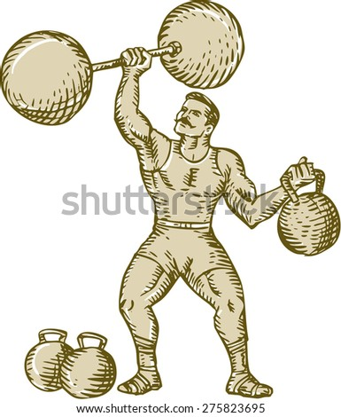 Etching engraving handmade style illustration of a strongman circus performer lifting barbell on one hand and kettlebell on the other hand set on isolated white background.  - stock photo