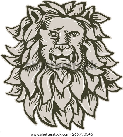 Etching engraving handmade style illustration of an angry lion big cat head with flowing mane viewed from front set on isolated white background. - stock photo