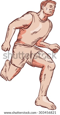 Etching engraving handmade style illustration of barefoot marathon triathlete runner running otherwise known as natural running without footwear facing front on low angle on isolated background. - stock photo