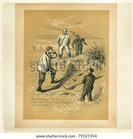 Etching from Golfing - A Handbook to The Royal And Ancient Game published by W&R Chambers Edinburgh and London, 1887. Illustration by Ranald Alexander. - stock photo