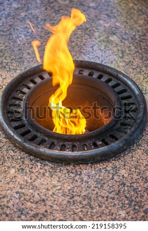 Eternal flame symbolizing victory in Great Patriotic War. - stock photo