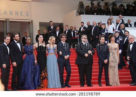 Ethan Coen, Jake Gyllenhaal,Rossy de Palma, Sienna Miller, Joel Coen, Xavier Dolan,Sophie Marceau attend the closing ceremony during the 68th Cannes Film Festival on May 24, 2015 in Cannes, France. - stock photo