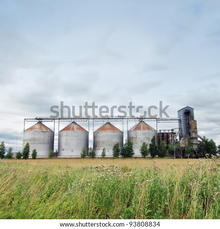 Ethanol fuel plant at the countryside - stock photo