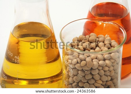 Ethanol oil and fuel produce by soy seeds - stock photo