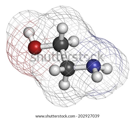 Ethanolamine (2-aminoethanol) molecule. Atoms are represented as spheres with conventional color coding: hydrogen (white), carbon (grey), oxygen (red), nitrogen (blue). - stock photo
