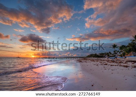 Ethereal beach sunset with blowing palm trees seaweed and a distant sailboat - stock photo